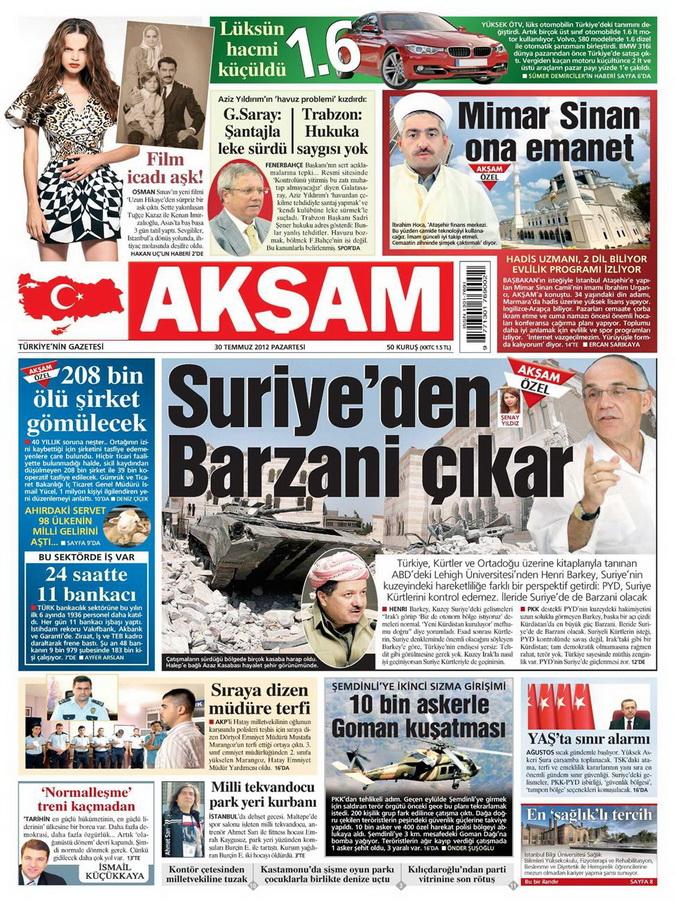 Gazete Manşetleri - 30 Temmuz 2012 1