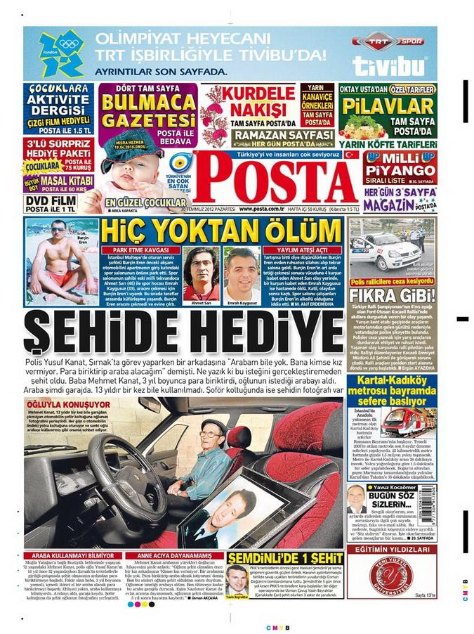 Gazete Manşetleri - 30 Temmuz 2012 11