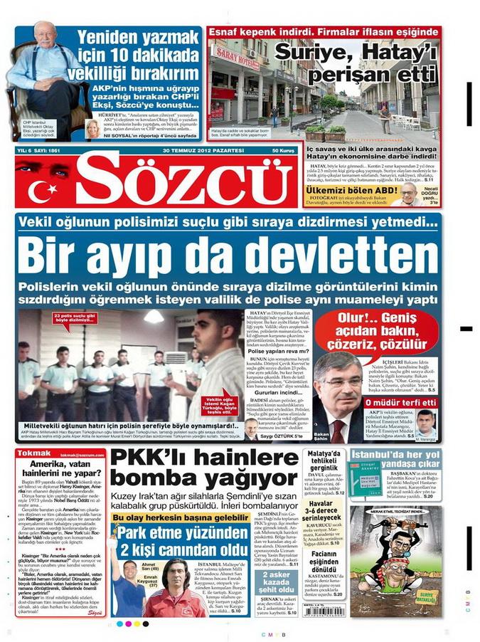 Gazete Manşetleri - 30 Temmuz 2012 14