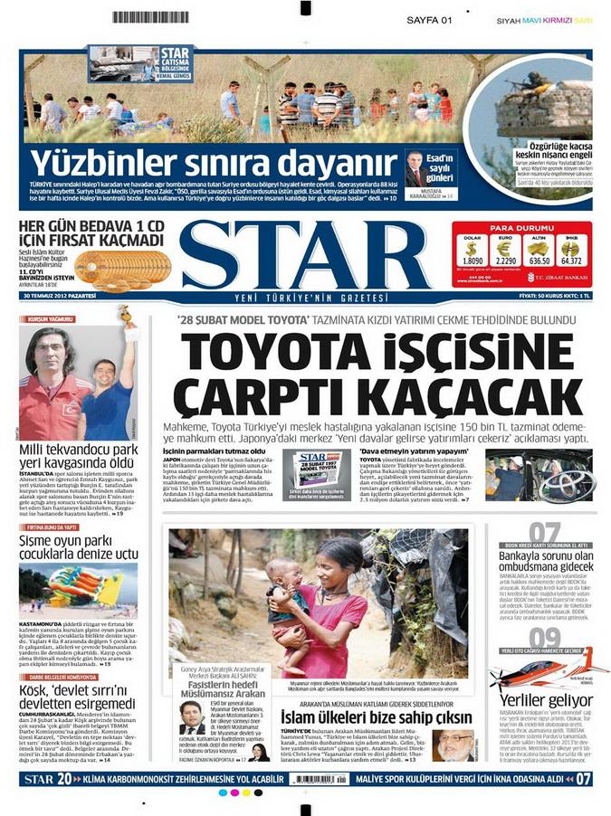Gazete Manşetleri - 30 Temmuz 2012 15