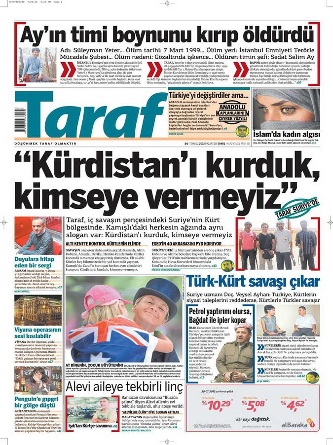 Gazete Manşetleri - 30 Temmuz 2012 17