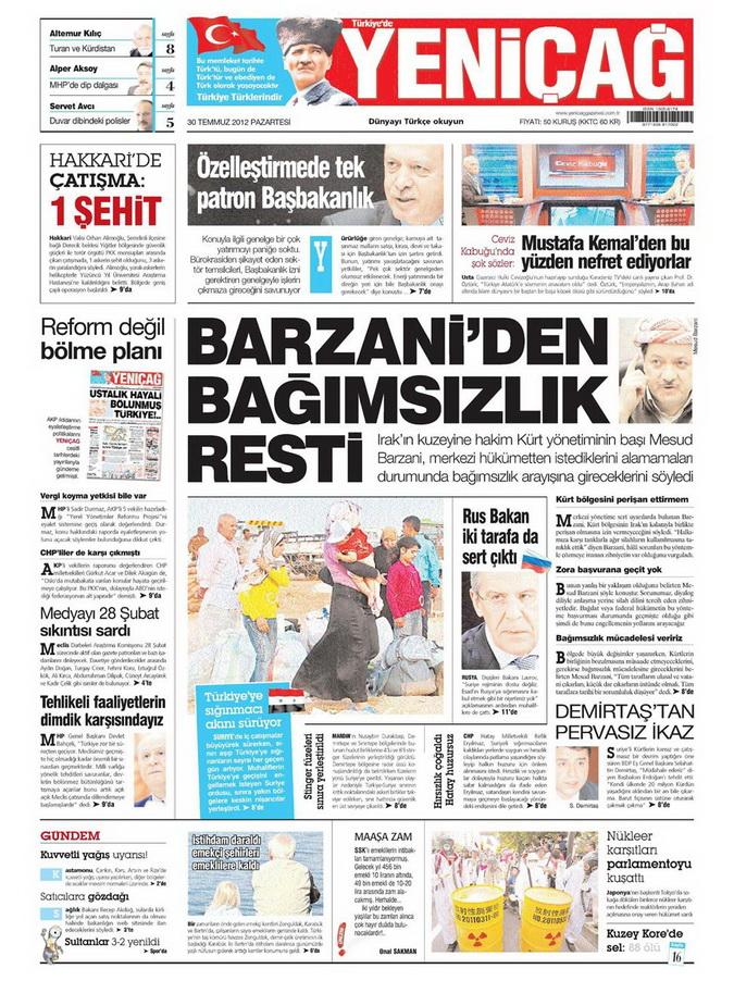 Gazete Manşetleri - 30 Temmuz 2012 18