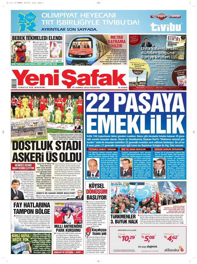 Gazete Manşetleri - 30 Temmuz 2012 23