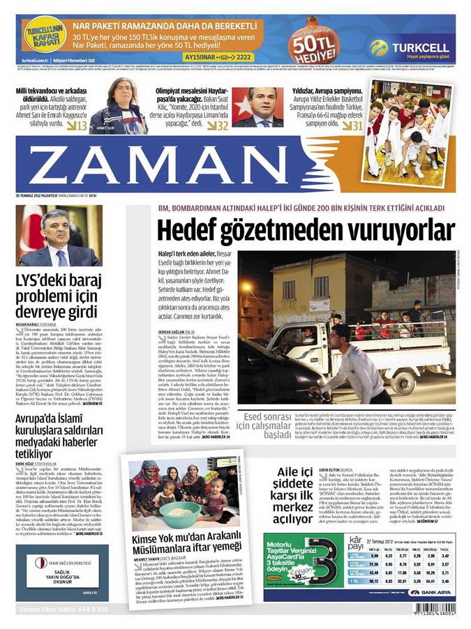 Gazete Manşetleri - 30 Temmuz 2012 24