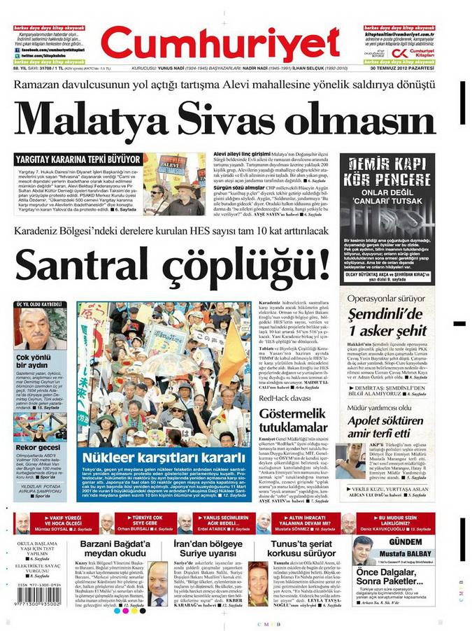 Gazete Manşetleri - 30 Temmuz 2012 4