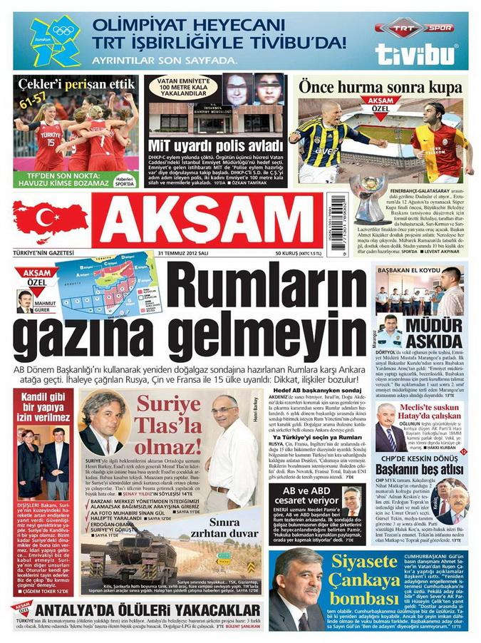 Gazete Manşetleri - 31 Temmuz 2012 1