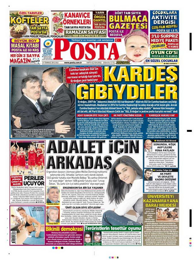 Gazete Manşetleri - 31 Temmuz 2012 12