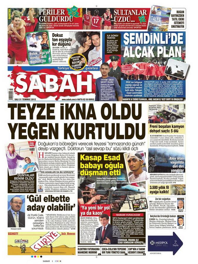 Gazete Manşetleri - 31 Temmuz 2012 14