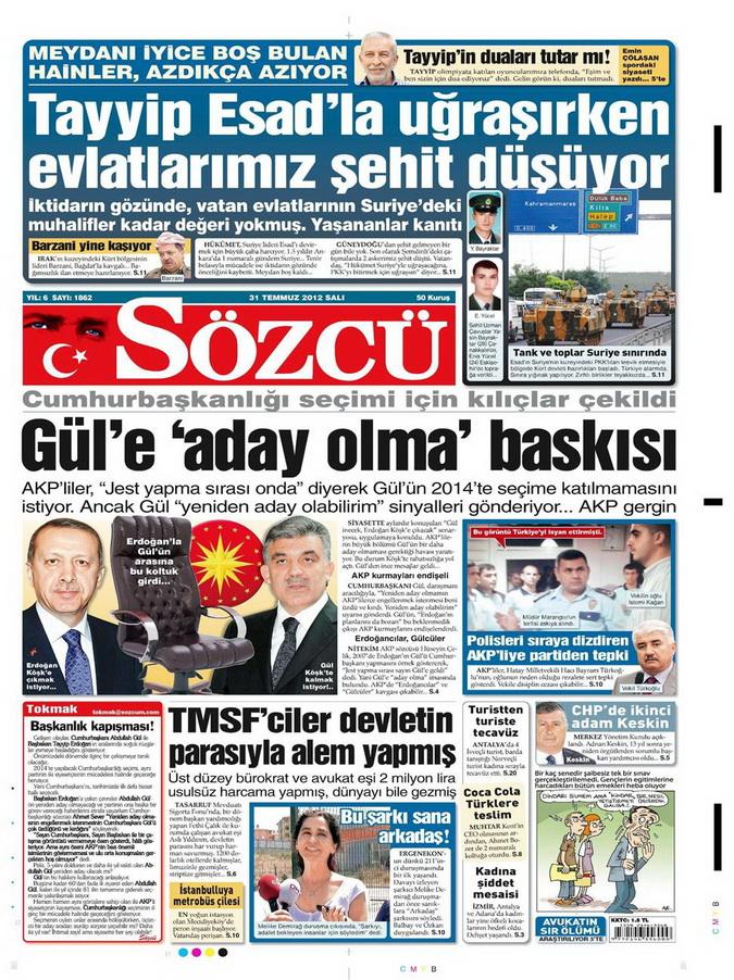 Gazete Manşetleri - 31 Temmuz 2012 15