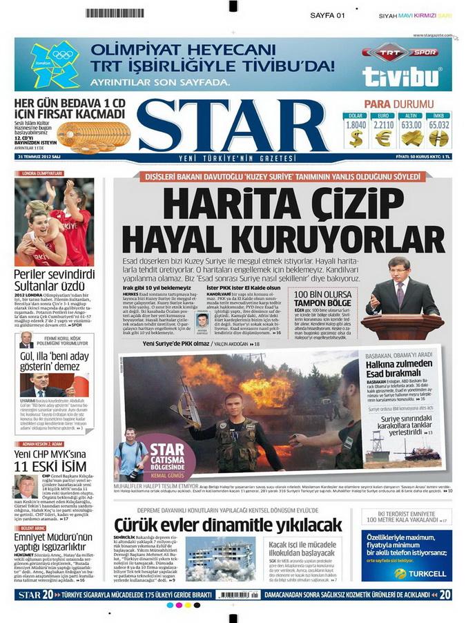 Gazete Manşetleri - 31 Temmuz 2012 16