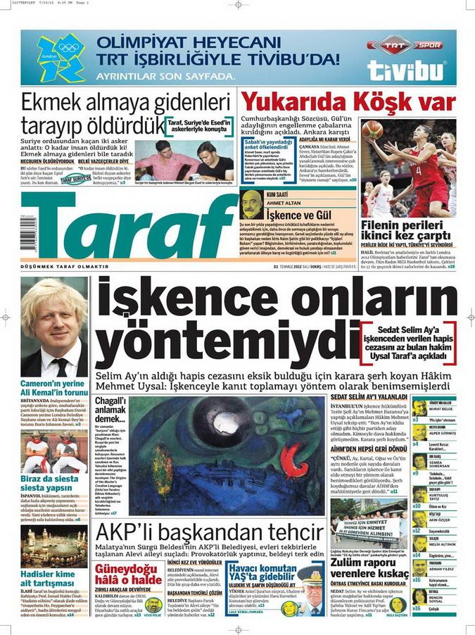 Gazete Manşetleri - 31 Temmuz 2012 18
