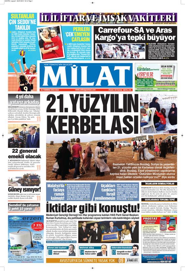Gazete Manşetleri - 31 Temmuz 2012 8