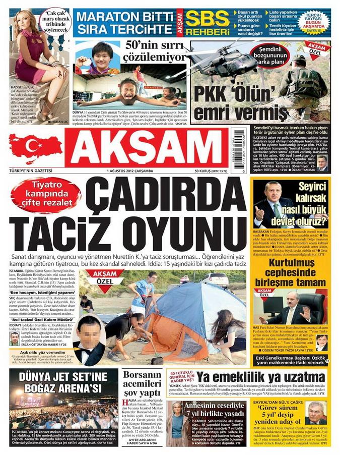 Gazete Manşetleri - 1 Ağustos 2012 1