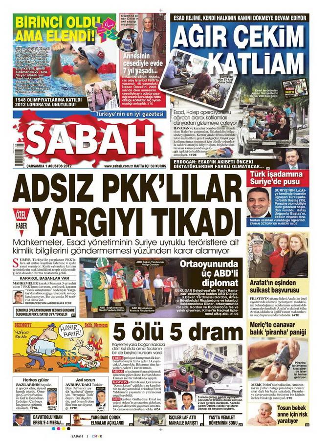 Gazete Manşetleri - 1 Ağustos 2012 12
