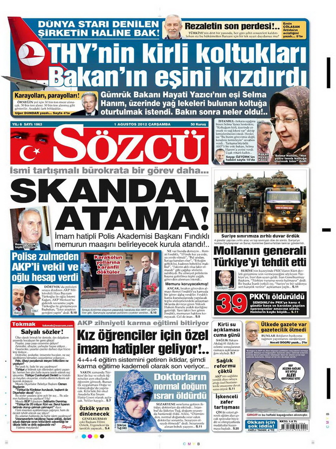 Gazete Manşetleri - 1 Ağustos 2012 13