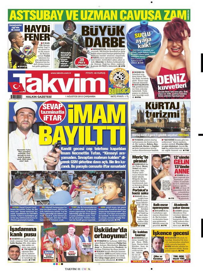 Gazete Manşetleri - 1 Ağustos 2012 15