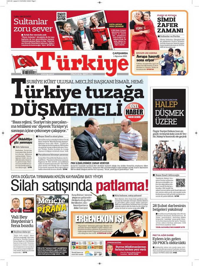 Gazete Manşetleri - 1 Ağustos 2012 17