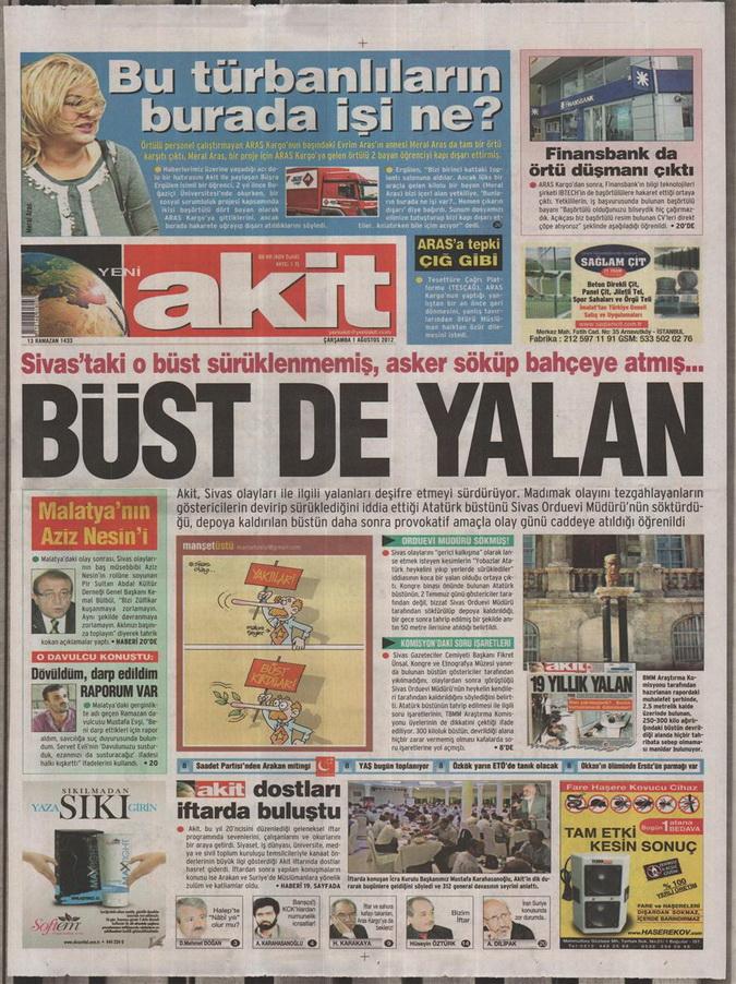 Gazete Manşetleri - 1 Ağustos 2012 20