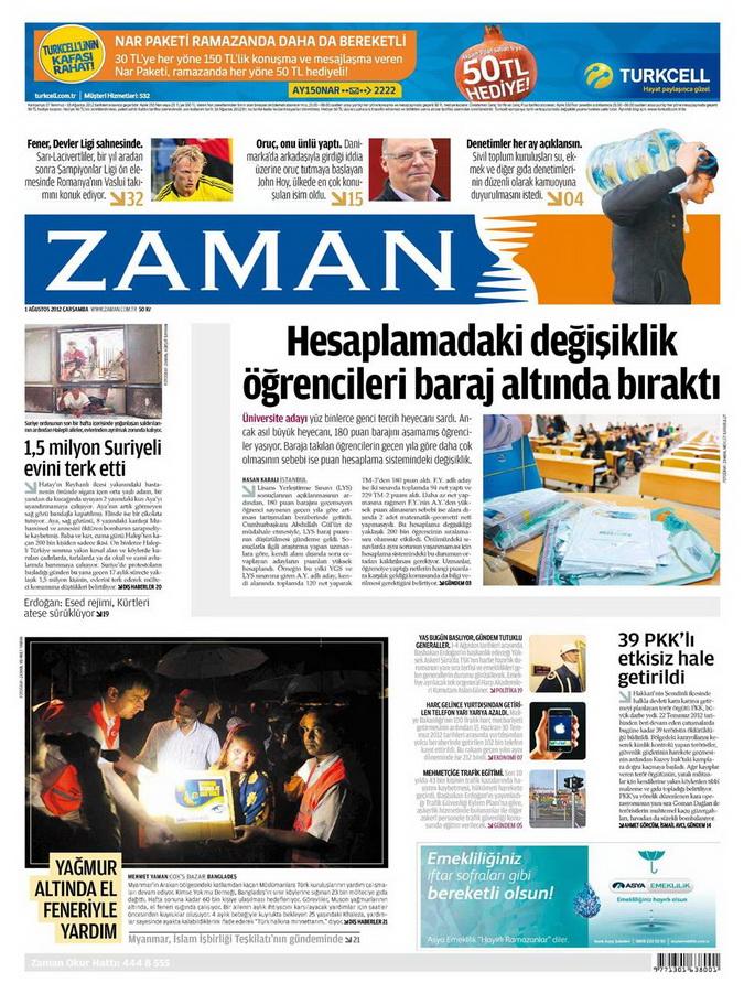 Gazete Manşetleri - 1 Ağustos 2012 23