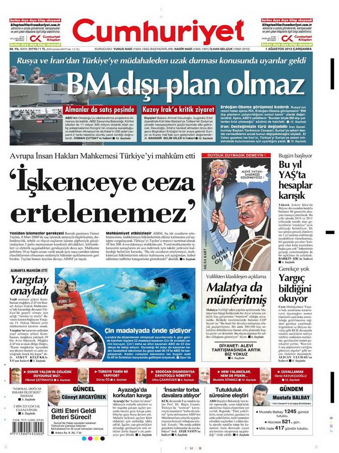 Gazete Manşetleri - 1 Ağustos 2012 3
