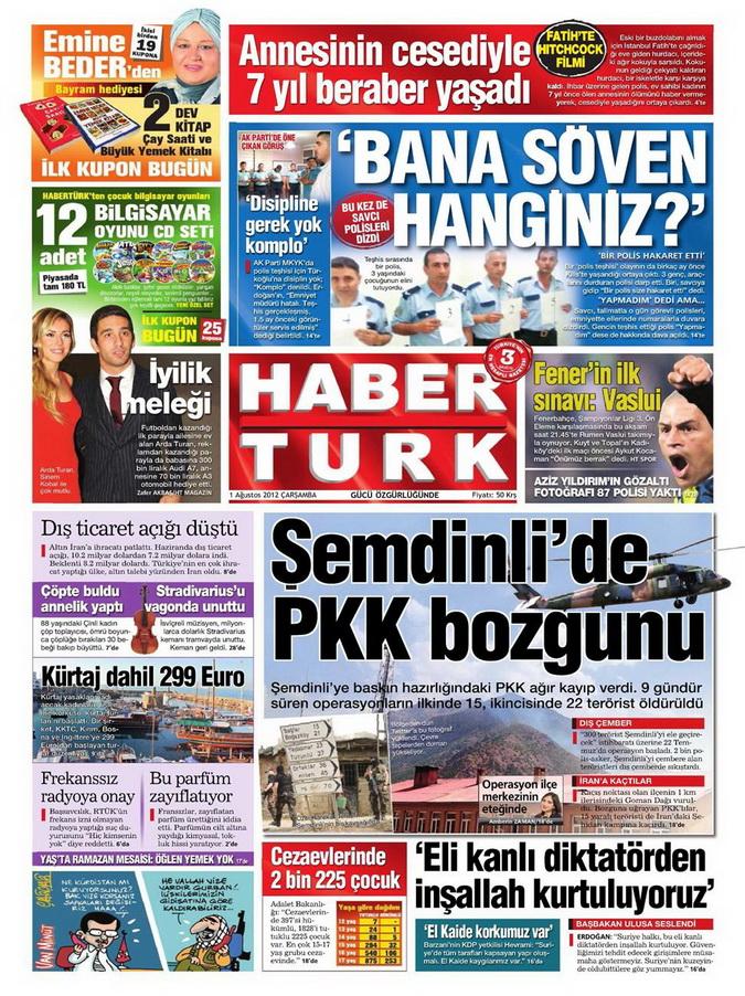 Gazete Manşetleri - 1 Ağustos 2012 4