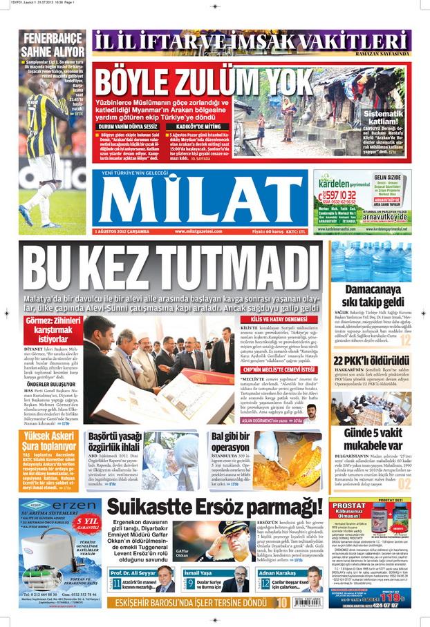 Gazete Manşetleri - 1 Ağustos 2012 6