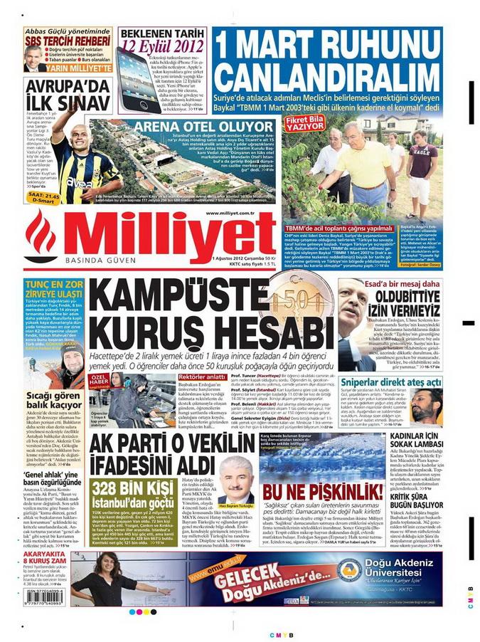 Gazete Manşetleri - 1 Ağustos 2012 8