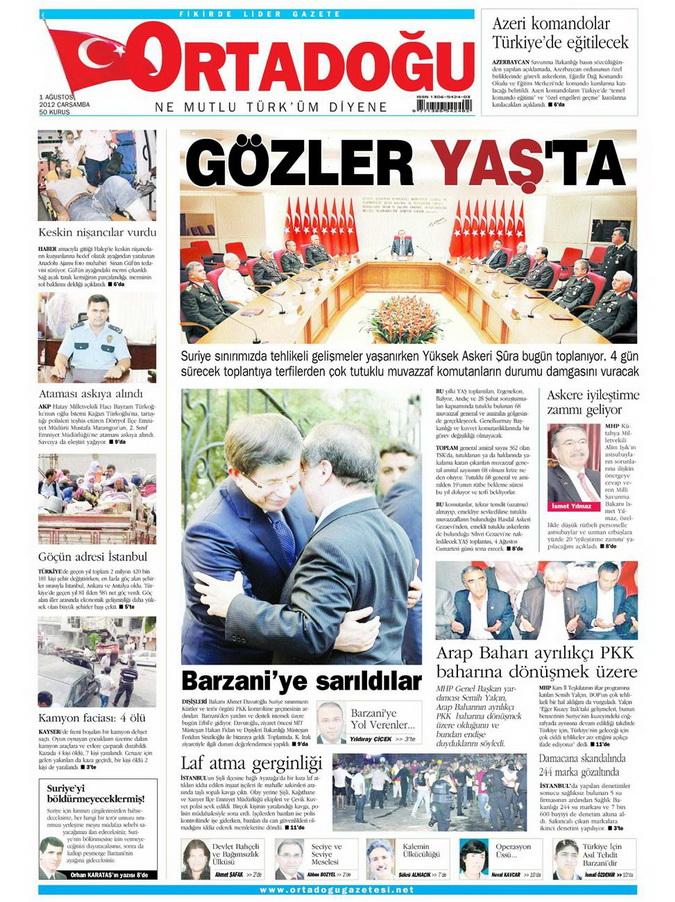 Gazete Manşetleri - 1 Ağustos 2012 9