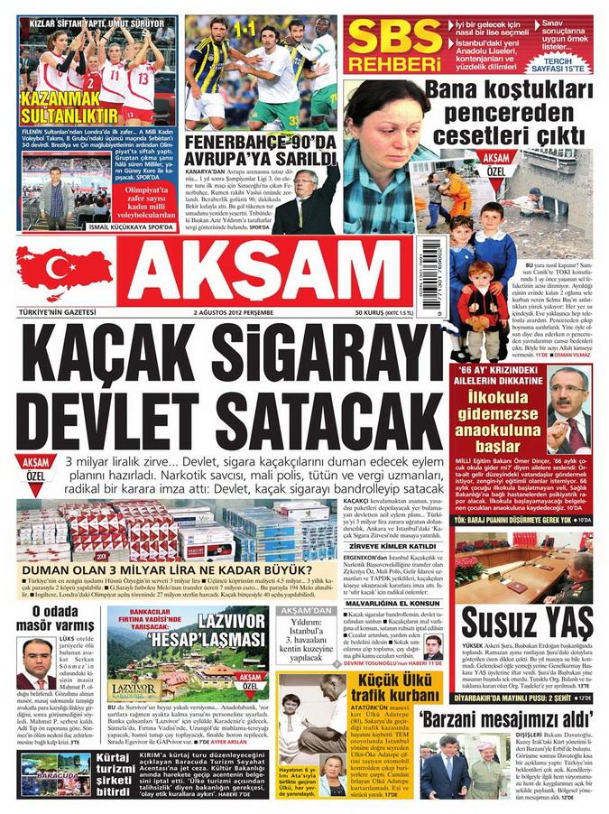 Gazete Manşetleri - 2 Ağustos 2012 galerisi resim 1
