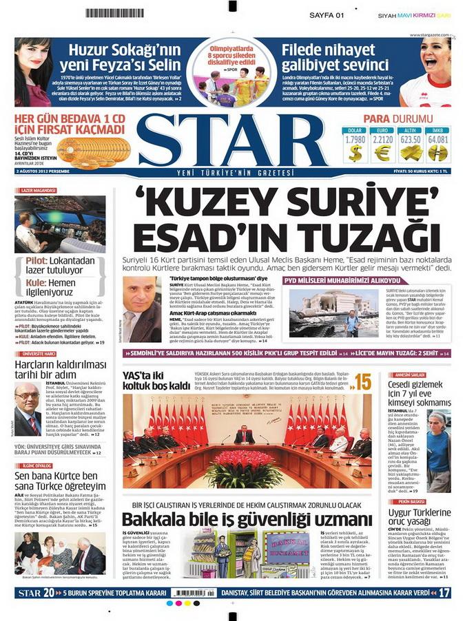 Gazete Manşetleri - 2 Ağustos 2012 12