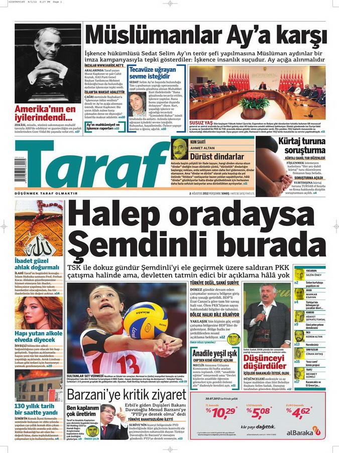 Gazete Manşetleri - 2 Ağustos 2012 14