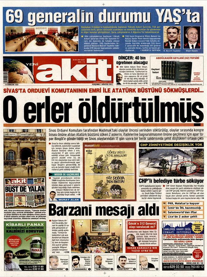 Gazete Manşetleri - 2 Ağustos 2012 17