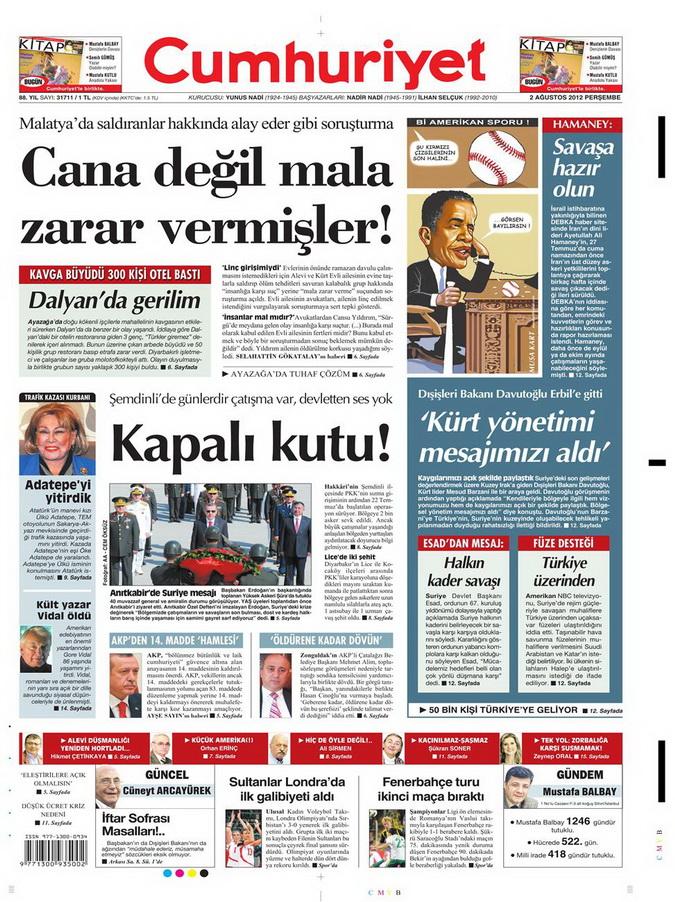 Gazete Manşetleri - 2 Ağustos 2012 3