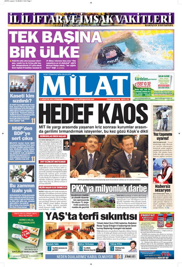 Gazete Manşetleri - 2 Ağustos 2012 6
