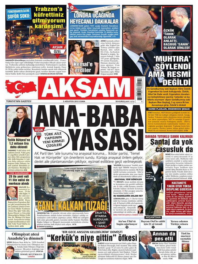 Gazete Manşetleri - 3 Ağustos 2012 1