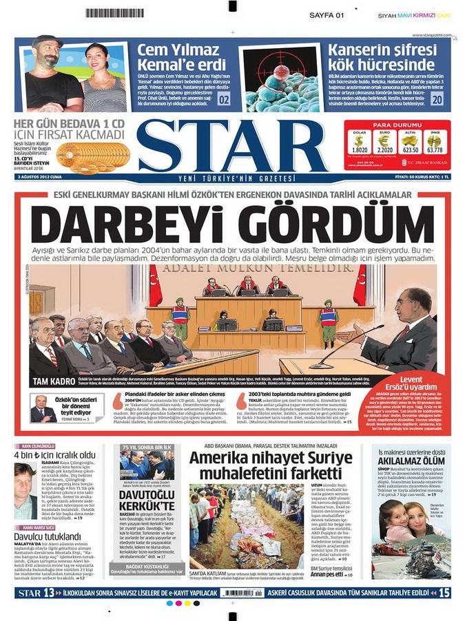 Gazete Manşetleri - 3 Ağustos 2012 11