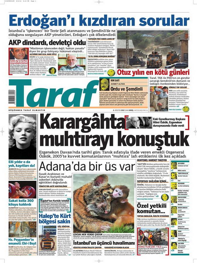 Gazete Manşetleri - 3 Ağustos 2012 12