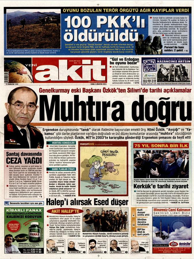 Gazete Manşetleri - 3 Ağustos 2012 14