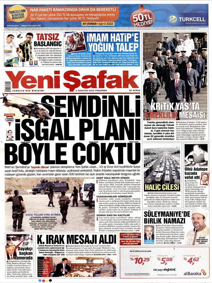 Gazete Manşetleri - 3 Ağustos 2012 15