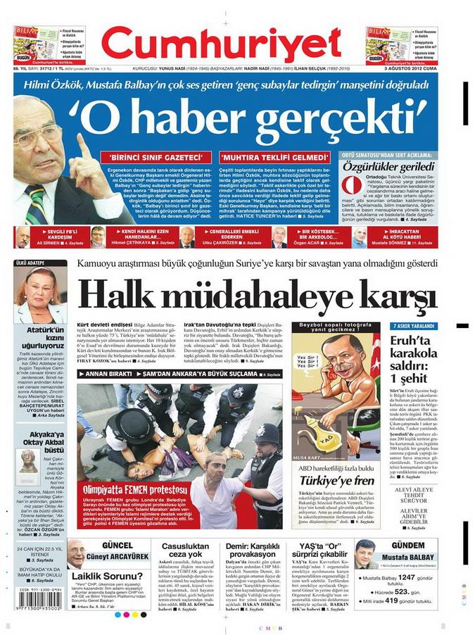 Gazete Manşetleri - 3 Ağustos 2012 3