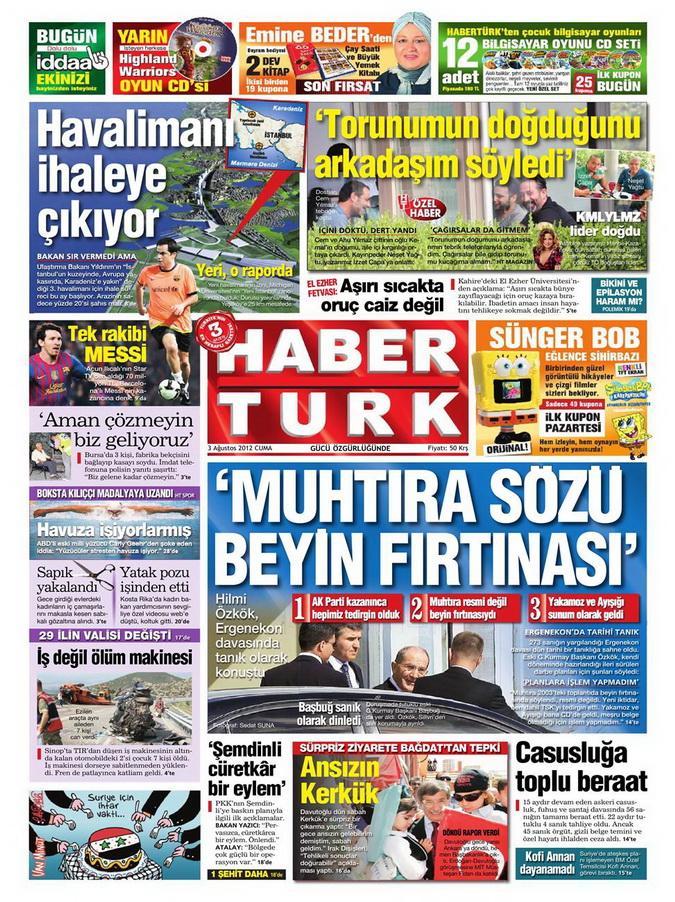 Gazete Manşetleri - 3 Ağustos 2012 4