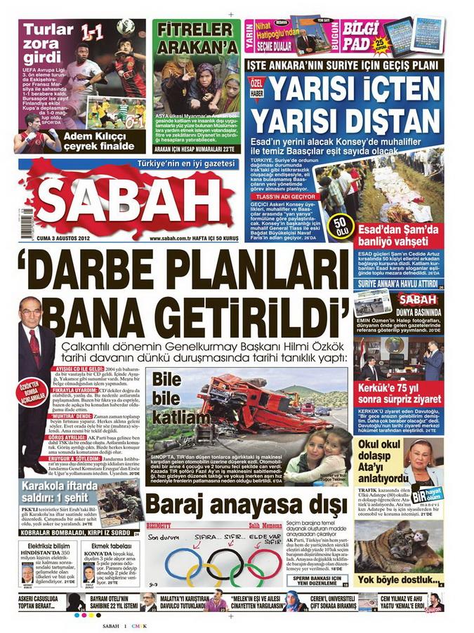 Gazete Manşetleri - 3 Ağustos 2012 9