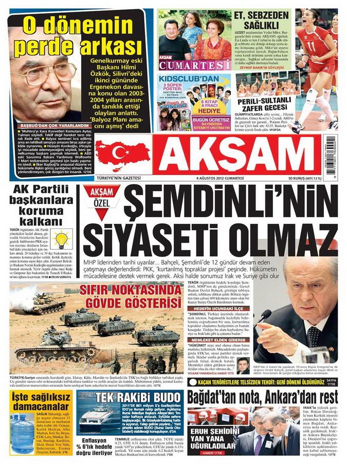 Gazete Manşetleri - 4 Ağustos 2012 galerisi resim 1