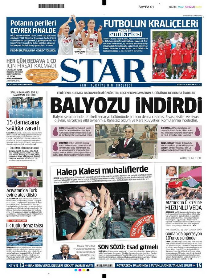 Gazete Manşetleri - 4 Ağustos 2012 15