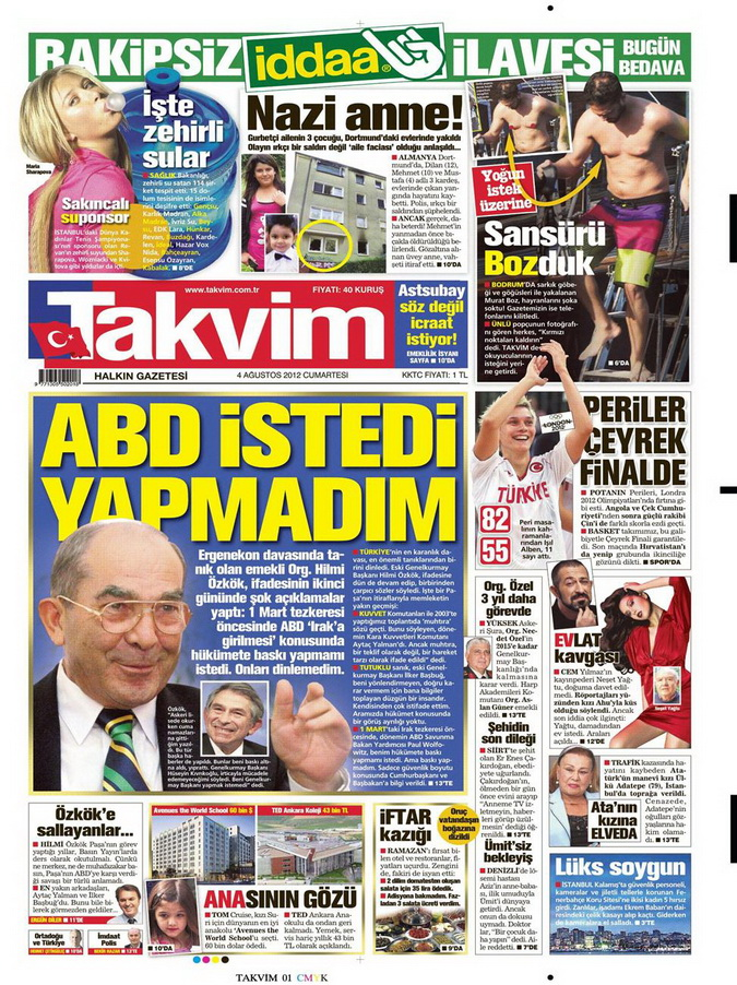 Gazete Manşetleri - 4 Ağustos 2012 16