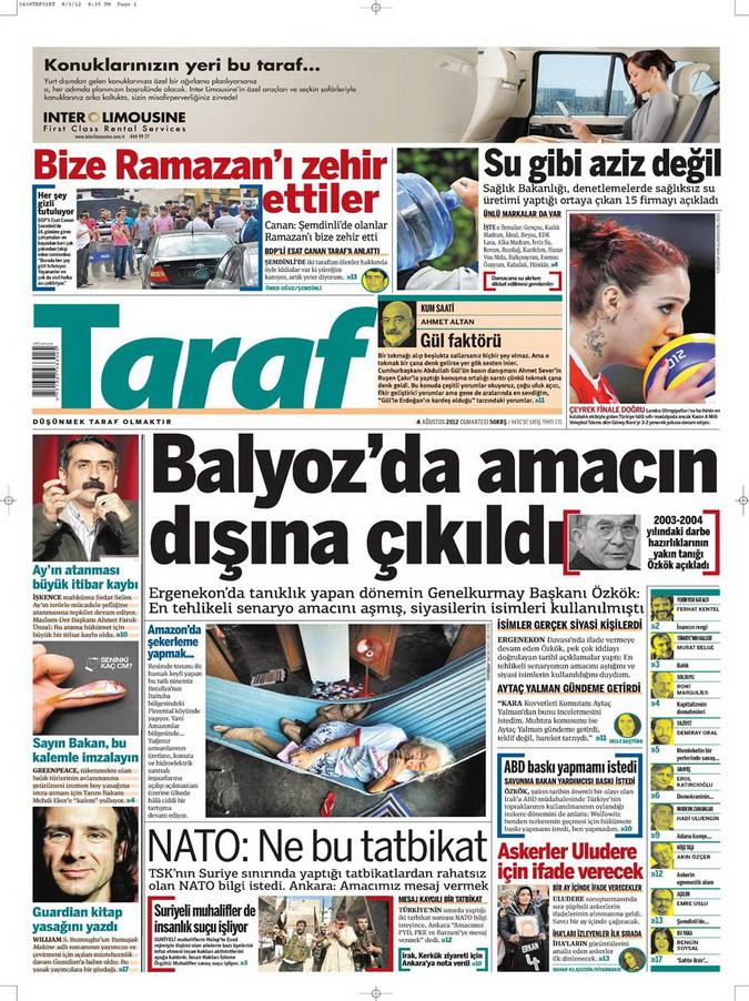 Gazete Manşetleri - 4 Ağustos 2012 17
