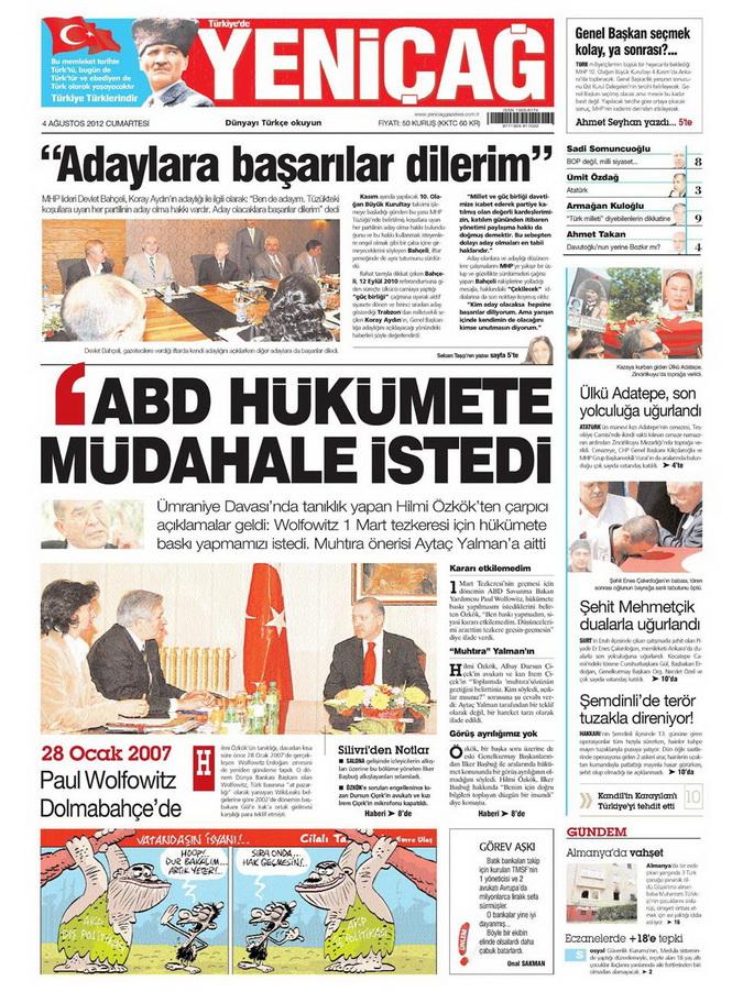 Gazete Manşetleri - 4 Ağustos 2012 19