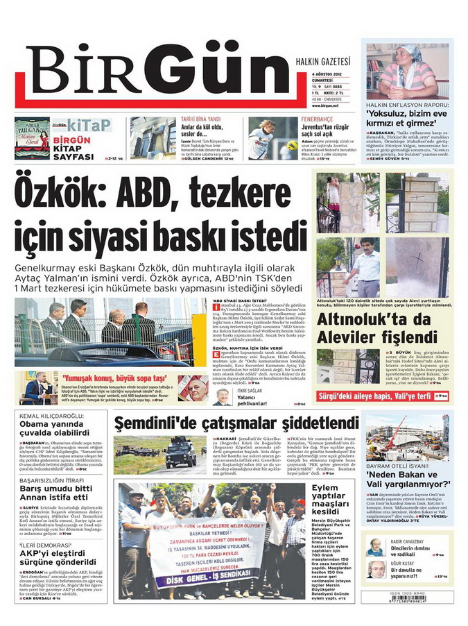 Gazete Manşetleri - 4 Ağustos 2012 2