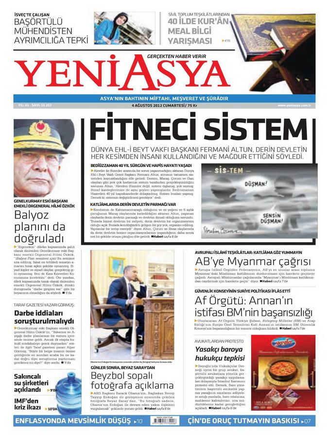 Gazete Manşetleri - 4 Ağustos 2012 22