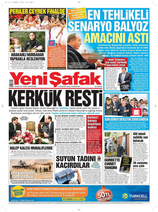Gazete Manşetleri - 4 Ağustos 2012 23